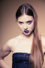 Girl woman with long straight hair and creative makeup