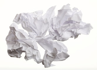 Crumpled paper on white background
