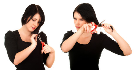 young woman with a scissors trying to cut her hair