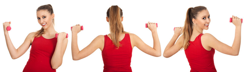 exercising young woman in red shirt with pink fitness weights