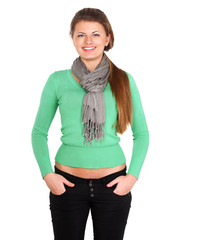 Portrait of a confident young woman standing isolated on white