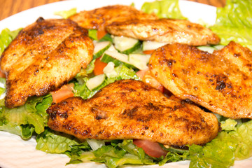 Barbecue chicken with fresh salad