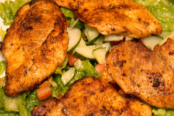 Barbecue Chicken with lettuce, tomato salad