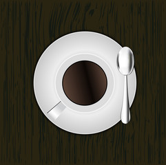 Top view of coffee cup , Eps 10
