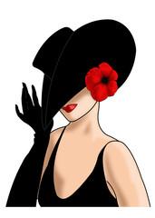 дама в шляпе с красным маком