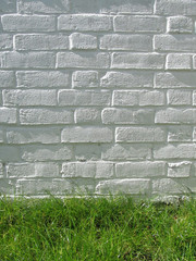 brick wall on grass