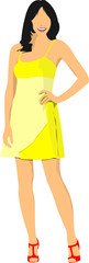 Modern young girl. Colored Vector illustration