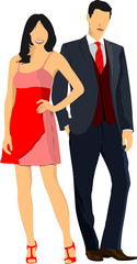 Gentleman and lady. Couple. Pair. Vector illustration