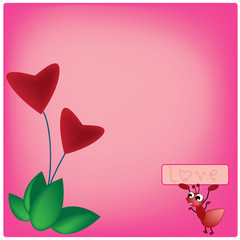illustration ant and heart plant on pink background