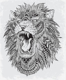 Hand Drawn Abstract Lion Vector Illustration - 65985539
