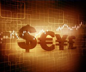 Global Currencies, stock market chart..