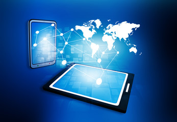 business network on tablet PC.