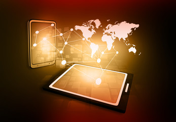 business network on tablet PC..
