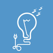 Symbolic light bulb with cord and electric plug