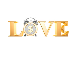 golden love dollar clock