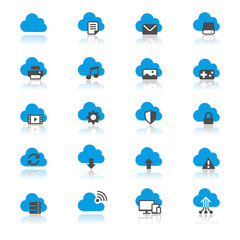 Cloud computing flat with reflection icons
