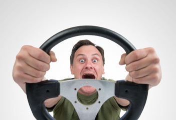 Funny man with a steering wheel