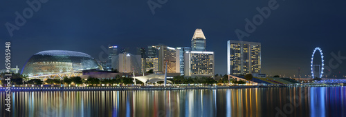 Plexiglas Singapore Skyline of Singapore at night