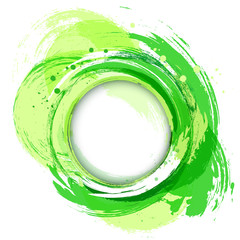 Green. Circle abstract vector background. Artistic brush strokes