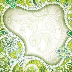 Abstract Green Floral Frame Background