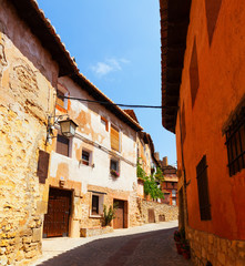 street of old spanish town in summer