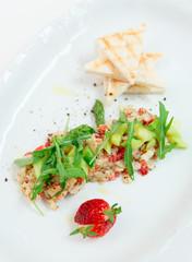Seabass carpaccio with strawberry