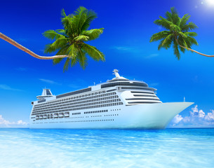 Cruise ocean with palm tree