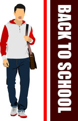 Young handsome man. Teenager. Back to school.Vector illustration