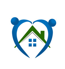 Real Estate - House wih hearty people logo vector