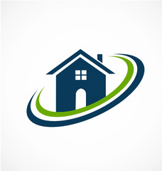 Real estate modern blue house icon logo vector