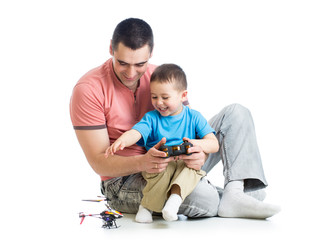 Father and son playing kids helicopter game
