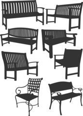 Big collection of garden benches.  Vector illustration