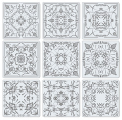 Abstract monochrome  tiles. Vector.