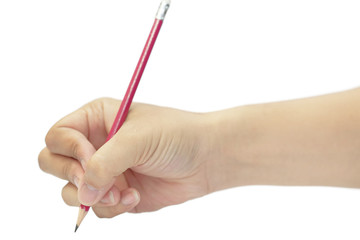 Hand writing with red pencil