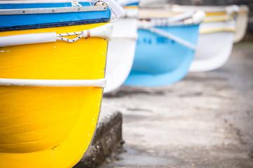 Colourful wooden boats at Marina Grande, Island of Capri, Italy.