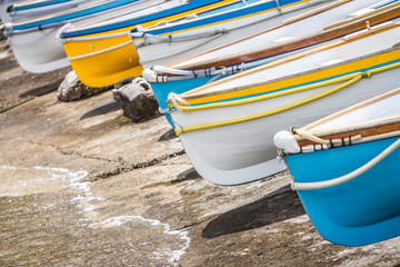 Colourful wooden boats at Marina Grande, Island of Capri, Italy.