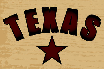 Texas on a Wood Grain Background