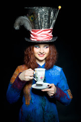 "Portrait of young woman in the similitude of the Hatter (""Alice'"