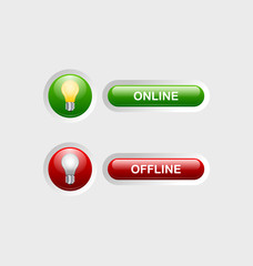 Online and offline buttons