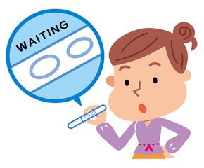 妊娠検査薬を使う女性 待ち時間