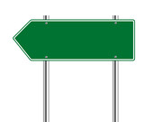 Green arrow to the left road sign