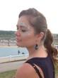 профиль девушки, аква-макияж