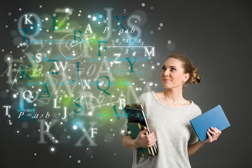 Young female student with clouds of bright formulas, numbers, le