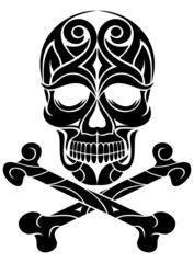 artistic tattoo skull and crossbones