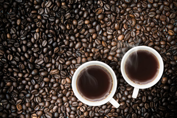 Fresh brewed Coffee With Coffeebeans