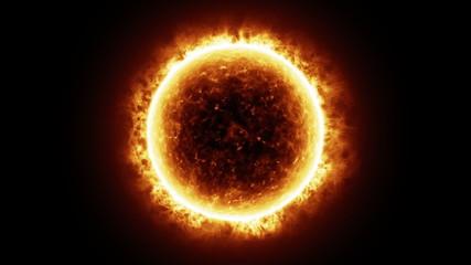 HD - Sun surface with solar flares. 3D animation