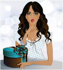 A beautiful girl with a gift in a box, blue background