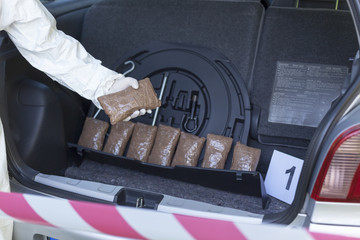 Drug bundles smuggled in a car trunk