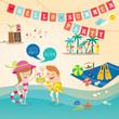 Summer cartoon background vector clip art