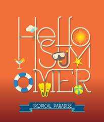 Hello Summer Typography Illustration